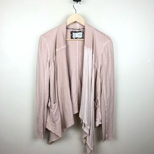 Saturday Sunday Blush Seamed Ruffle Cardigan M